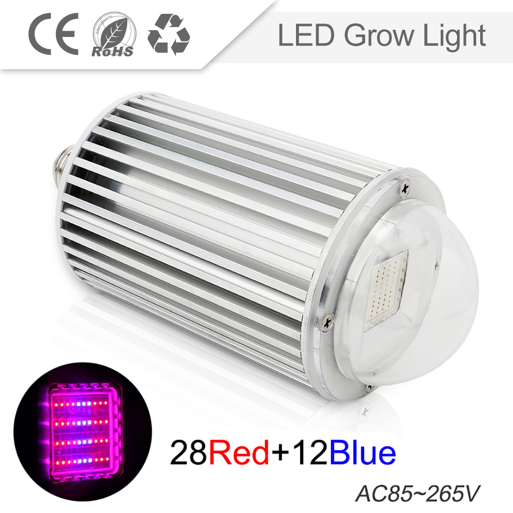 LED Grow Light AC85-265V 120W E27 28Red 12Blue LED Plant Growth Light for Indoor Plants or Aquarium