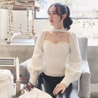 Sexy Women S Shirt 2017 Autumn Vintage Royal Backless Lantern Long Sleeve Tweed Blouse Pearls Beading