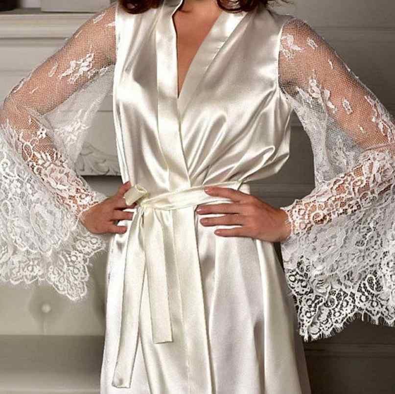 米国女性ローブシルクサテンローブ結婚式のウエディング花嫁ガウン着物固体ローブドレスレース