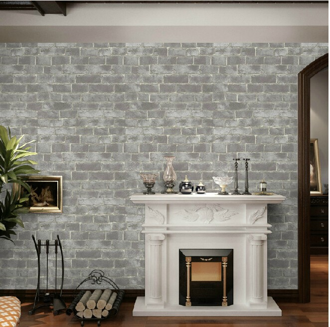 Buy shabby chic vintage vinyl grey brick for Grey brick wallpaper bedroom