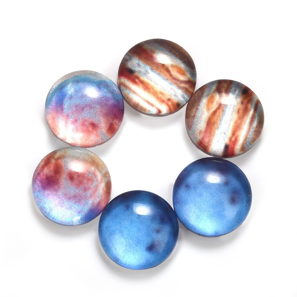 6Pcs Planet Pattern Glass Round 8mm Cabochons Dome Flat Back For Jewelry Making Handmade DIY Findings