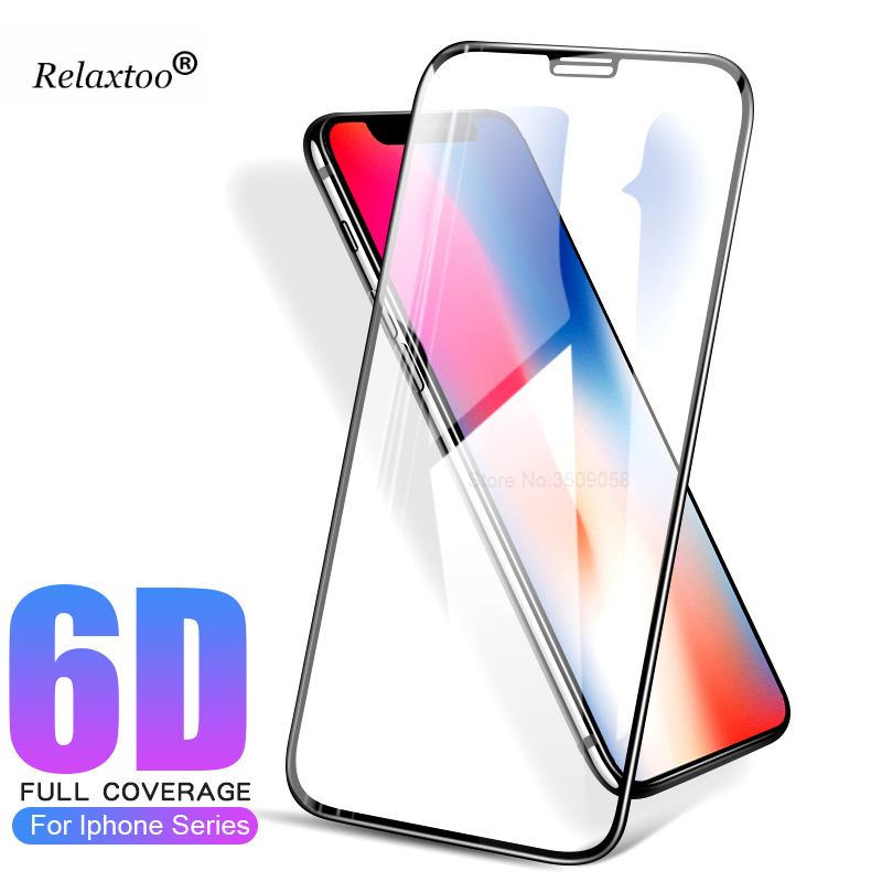 6D Curved Tempered Glass Front Film For IphoneX Case Protective Glass For Iphone 8 7 6 6 ...