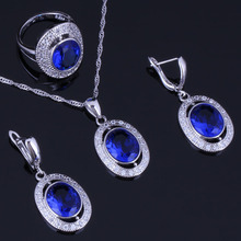 Jolly Oval Blue Cubic Zirconia White CZ 925 Sterling Silver Jewelry Sets For Women Earrings Pendant Chain Ring V0986