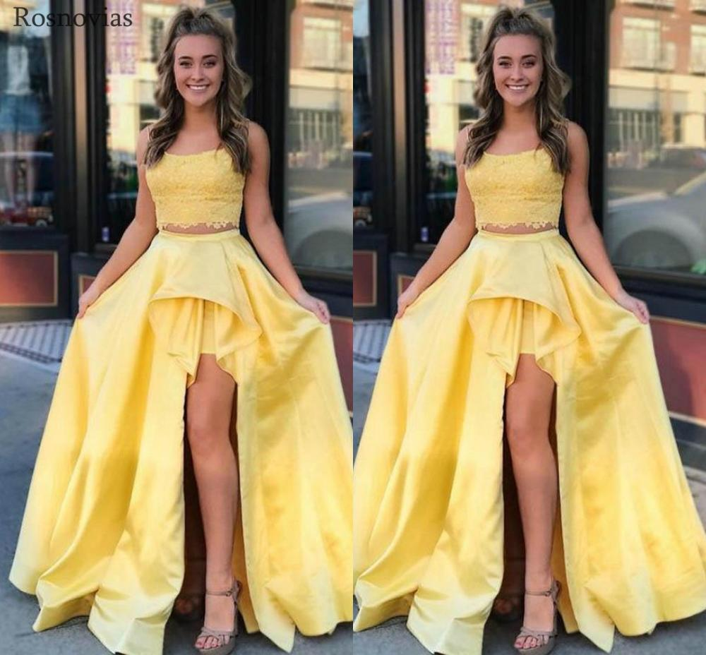 Yellow High Split Prom Dresses 2019 Two Pieces Dress Sweep Train Lace Appliques Youth Long Evening Party Formal Gowns