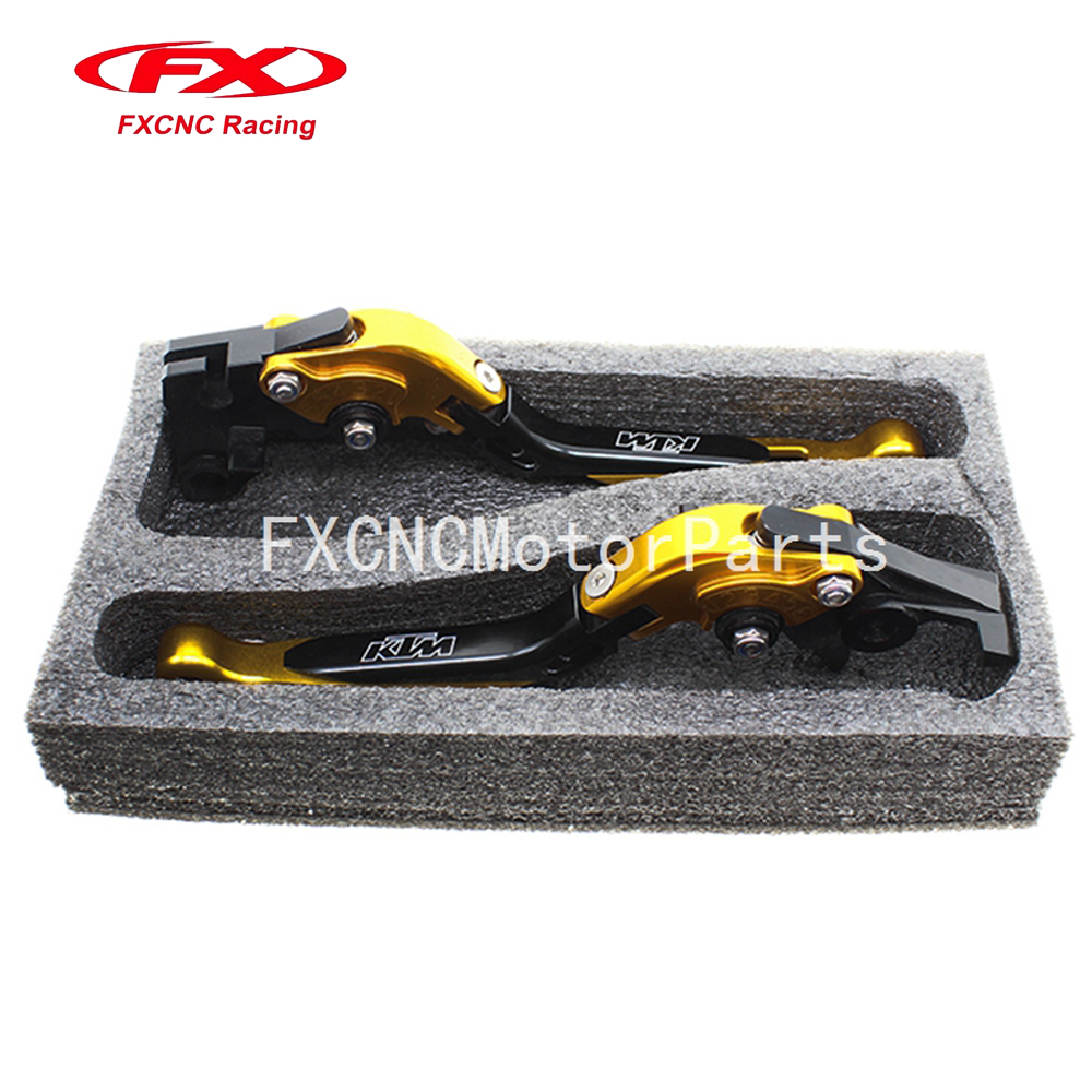 For KTM 690 SMC SMC-R 690 DUKE 2012-2013 Gold & Black CNC Motorcycle Folding Extendable Brake Clutch Levers With Package