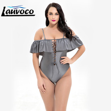 One Piece Plus Size Swimwear One Piece Bathing Suit Vintage Solid Female Ruffle Swimsuit for Women Sexy Bathing Suit Big Size