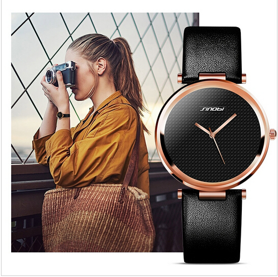 цены  SINOBI Brand Luxury Rose Gold Watch Women Watches Leather Strap Minimalist Quartz Watch Lady Hour Montre Femme Relogio Feminino
