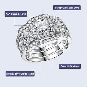 Image 4 - Newshe 3 Pcs Wedding Ring Set Klassieke Sieraden 925 Sterling Zilver Princess Cut Aaa Cz Engagement Rings Voor Vrouwen Maat 5 12