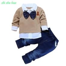 Одежда для мальчиков и девочек, комплект из двух предметов, Вельветовая футболка с длинными рукавами и джинсы, качественная одежда с украшением в виде галстука-бабочки для детей 2-7 лет, горячая распродажа