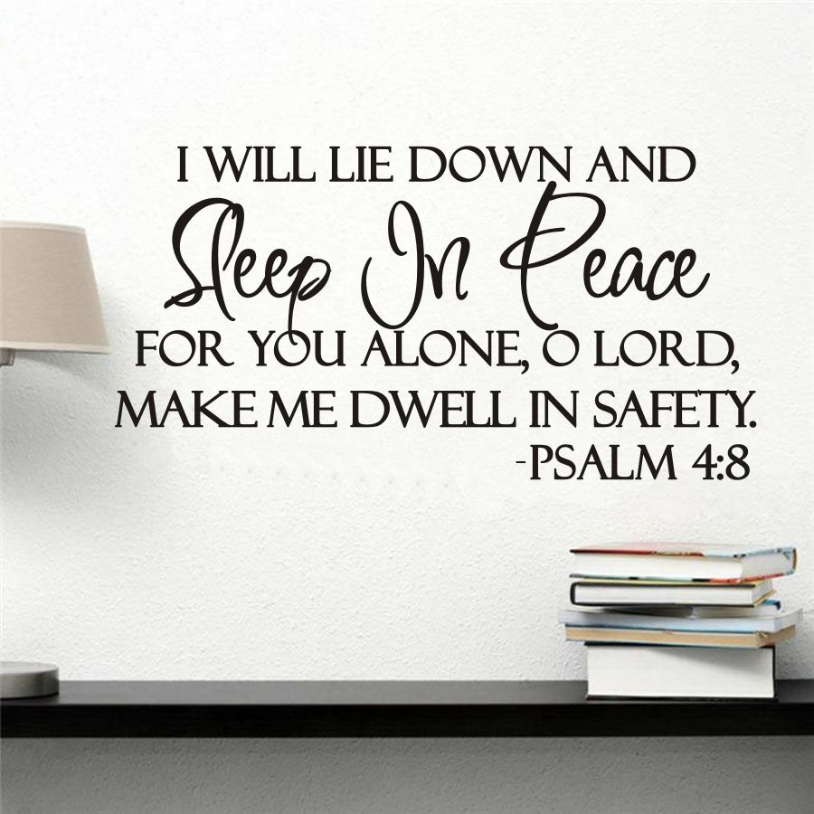 I WILL LIE DOWN AND SLEEP IN PEACE PSALM 4:8 BIBLE VERSE LETTERING WALL DECAL DECOR QUOTE INSPIRE SIZE 23*12INCHES