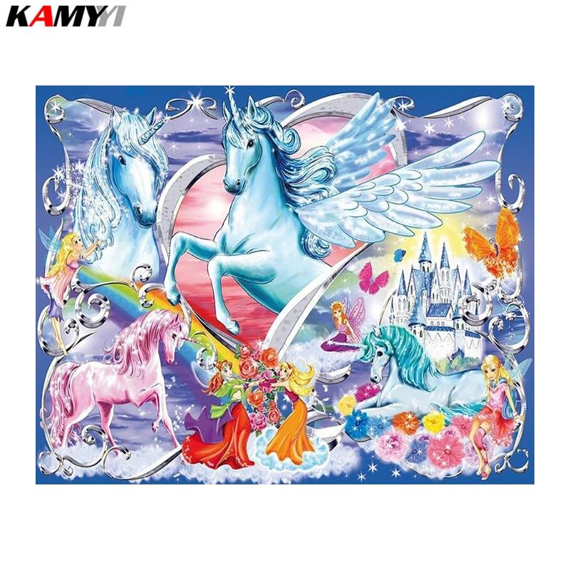 5D Diy Diamond Painting Cross Stitch Fantasy Horses Diamond Embroidery Full Mosaic Kits Handmade Craft Decor DD