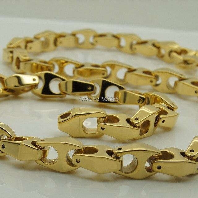 vary length14'' 40'' 9mm width unique men gold plating