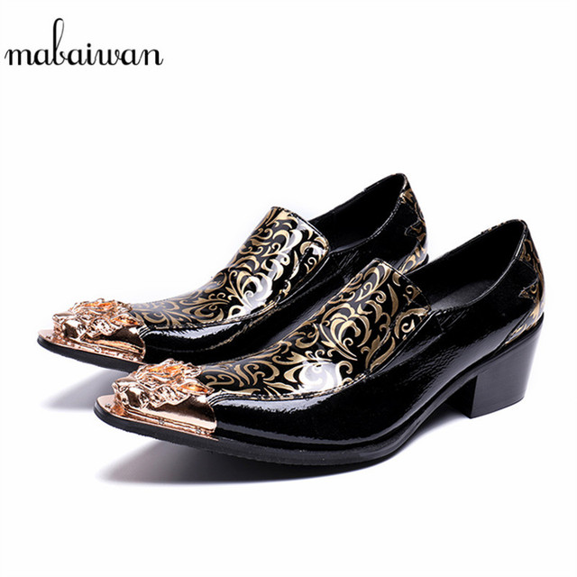 Mabaiwan New Fashion Casual Men Shoes Slipper Gold Metal Decoration Flats Wedding  Dress Shoes Men s Party Patent Leather Loafers 4bd8291086d6