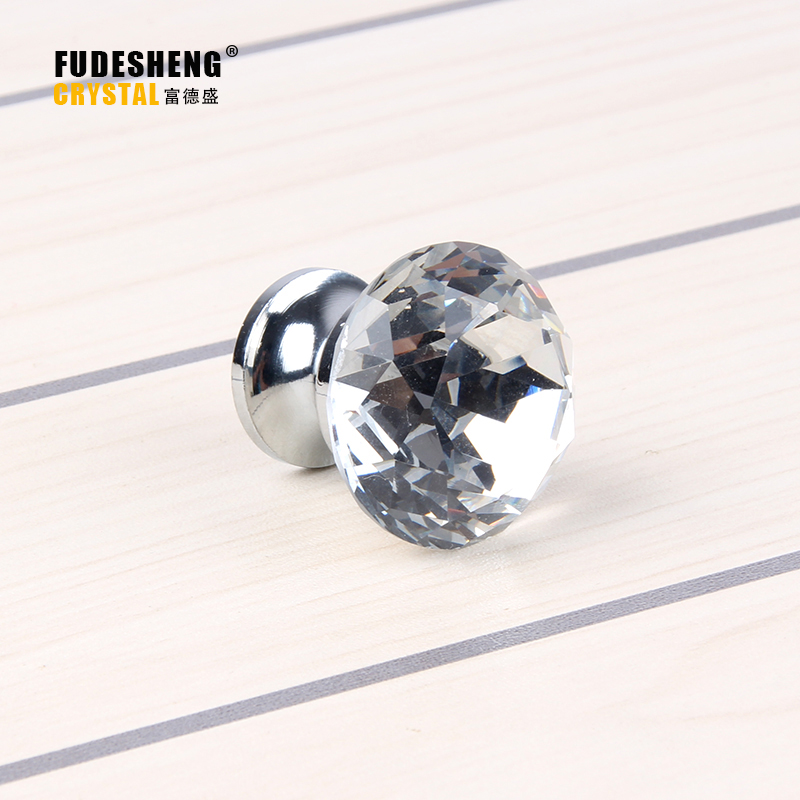 Fu De Sheng Store 10PCS 30mm New sharp Diamond Crystal Drawer Cabinet Door Handle Cabinet Furniture Decorative hardware knobs SJ-1005