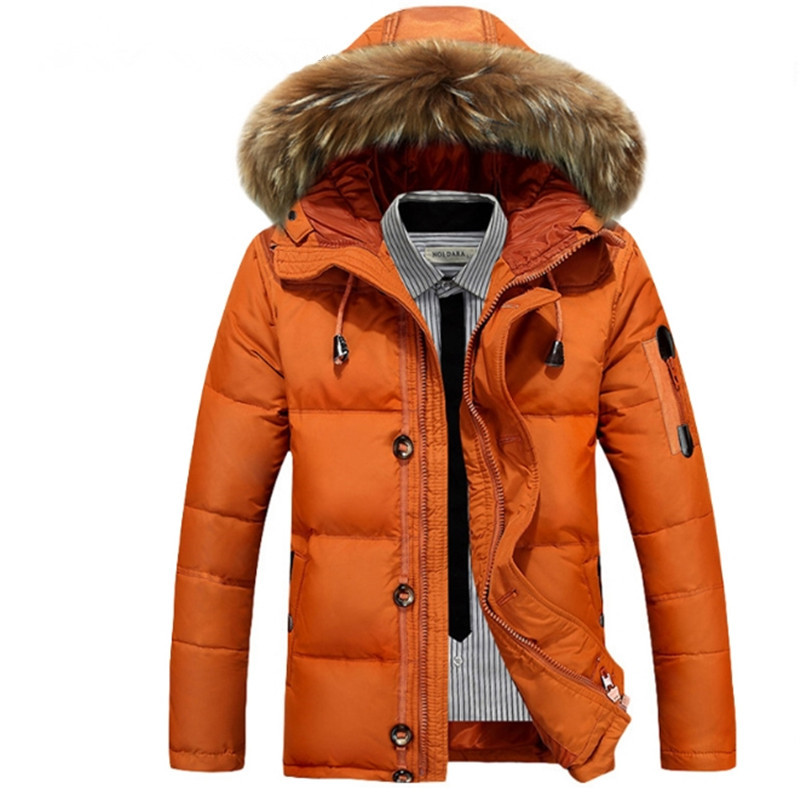 Male Warm High Quality   Down     Coats   Male Casual White duck Outerwear Winter Big Fake Fur Hooded Fashion Solid Duck   Down   Jackets