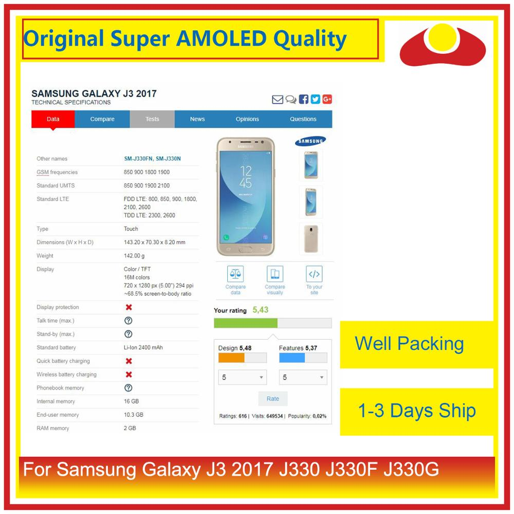"""Image 4 - Original 5.0"""" For Samsung Galaxy J3 2017 J330 LCD Display With Touch Screen Digitizer Panel Pantalla Complete J3 Pro 2017 LCD-in Mobile Phone LCD Screens from Cellphones & Telecommunications"""