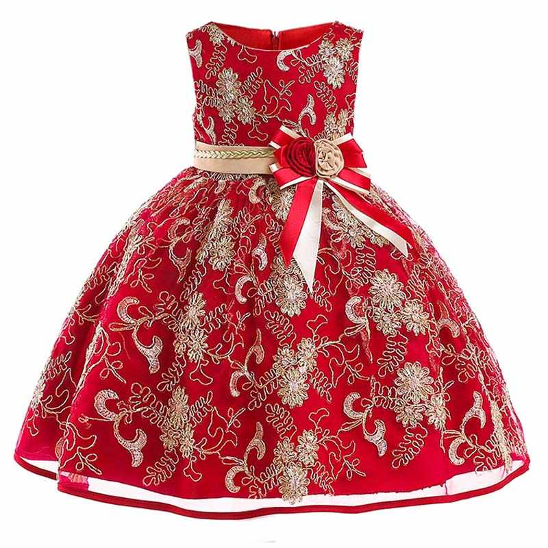 Baby girl christmas embroidery big bow princess clothes girl elegant flower  girl kids birthday party dress f25022745f6a