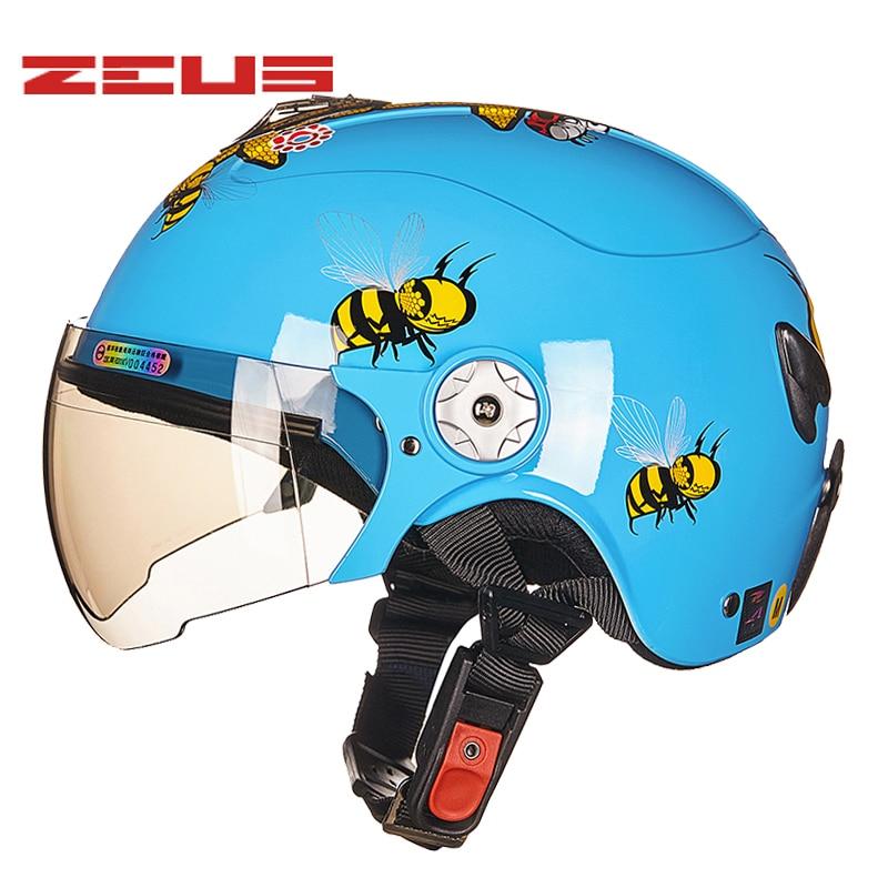ZEUS Children Cartoon motorcycle helmets Half face Kids cute capacete casco child Safety protective motorbike helmet