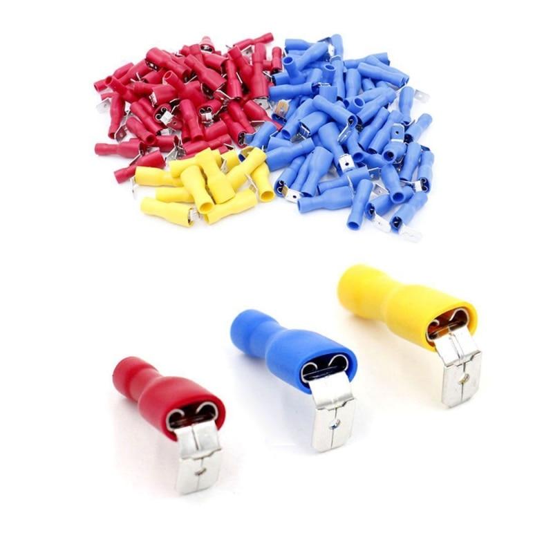Kreativ 100 Pcs Multicolor Piggy Zurück Spaten Terminal Set Voll Isolierte Butt Splice Draht Kabel Crimp Elektrische Terminatoren Stecker Aromatischer Geschmack