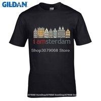 GILDAN t shirt wzór Najnowszy List Druku Mężczyzna Krótkim Rękawem Bawełniana Koszulka Amsterdam gładkie koszulki Bawełniane Z Krótkim Rękawem