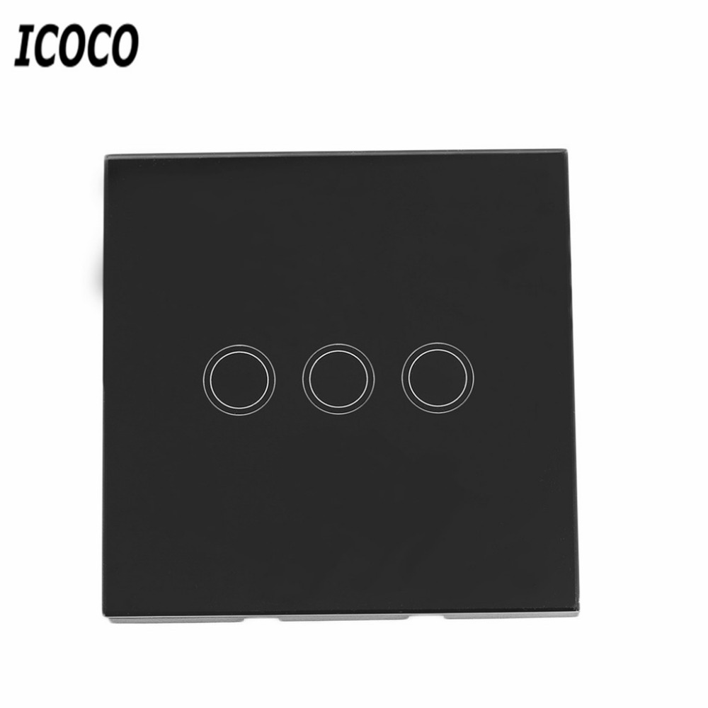 ICOCO 3 Tipi di Casa Intelligente Pannello di Cristallo 1/2/3 Gang 1 Way Spina di UE Tocco Leggero Senso Screen Wall Switch Con LED indicatore