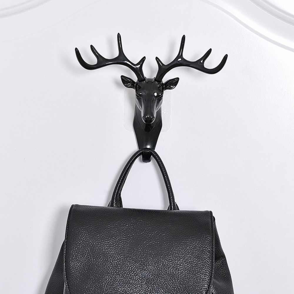 קיר תלוי וו בציר צבי Antlers ראש לתליית בגדי כובע צעיף מפתח צבי קרנות מתלה קולב קיר קישוט