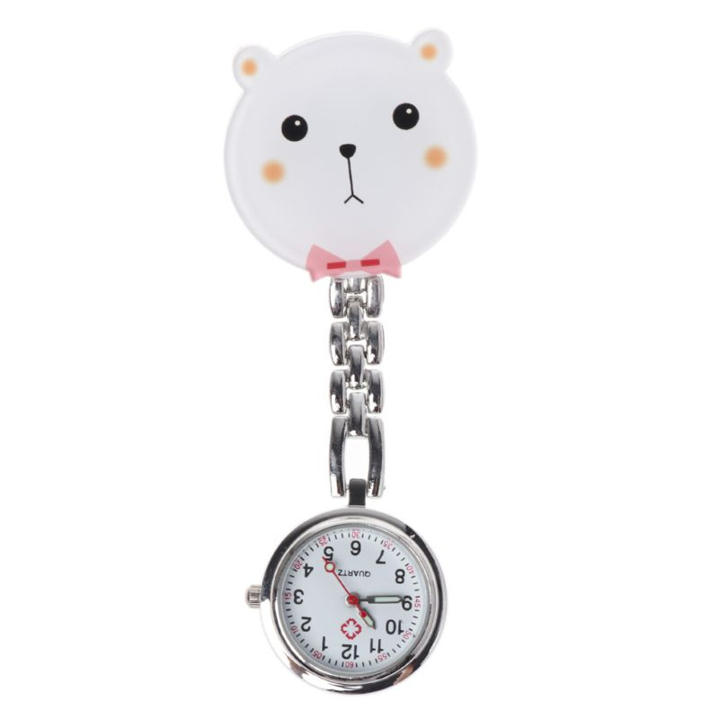 Cute 3D Cartoon White Bear Nurse Watch Pocket Watches Medical Jewelry Portable Acrylic Hang Clip Fashion Silver Chain