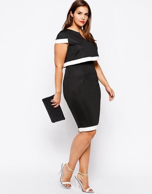 053d0a3e5ad Women Bodycon Vestidos Dresses 6XL Plus Size Lady Summer Dress 5XL Maxi  Patchwork Clothing Full Figure 4XL Clothes 3XL Black