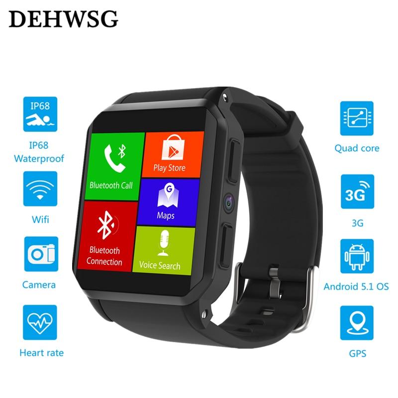 Original DK68 smartwatch android 5.1 MTK6580 Quad Core 3G WiFi GPS watch Heart Rate Monitor IP68 Waterproof PK KW88 amazfit bip original amazfit bip youth edition smart watch gps glonass bluetooth 4 0 heart rate monitor ip68 waterproof android 4 4 ios 8