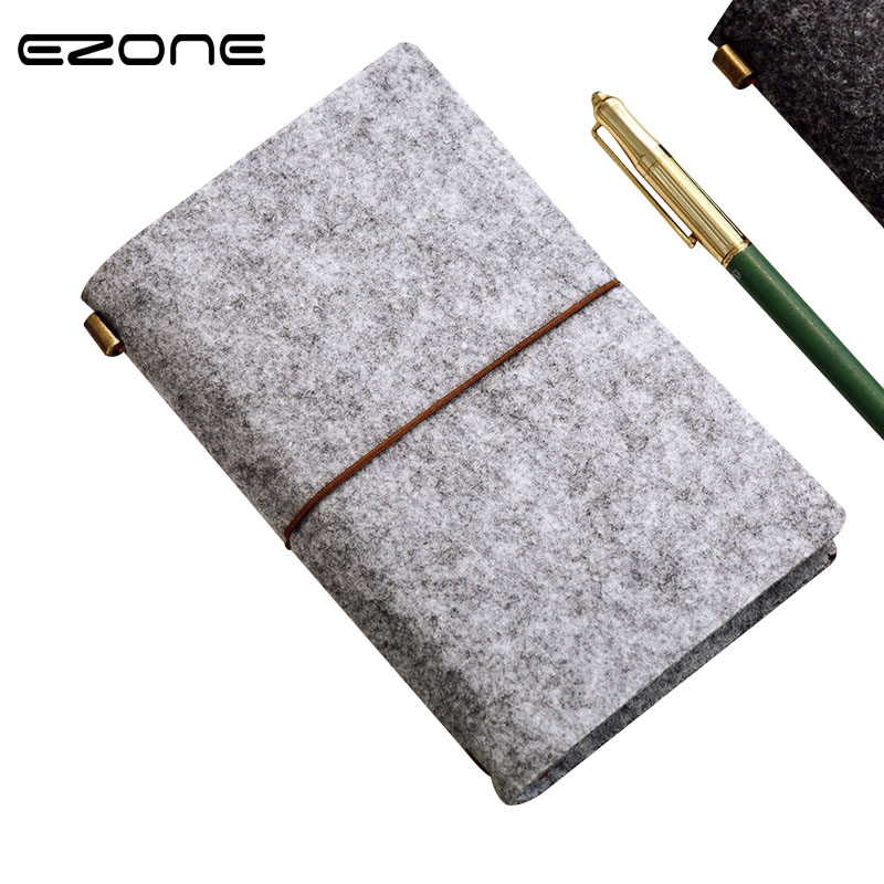 EZONE Creative Felt fabric Spiral Weekly Planner Notebook Travel Journal Diary Notepad Office School Supplies Cute Student Gift