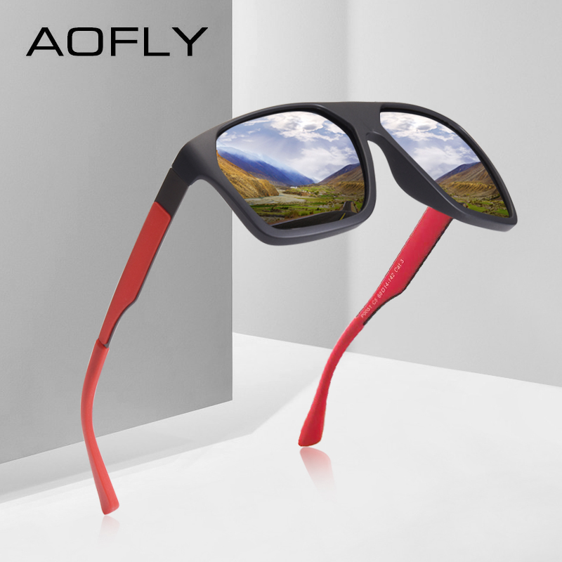 AOFLY BRAND DESIGN Polarized Sunglasses Men Classic Sunglasses Mens Driving Shades Male Unique Temple Oculos De Sol AF8113Mens Sunglasses   -