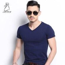 Mens short-sleeved Summer Short-sleeved T-shirt Solid Color Slim V-neck Casual Top Tees Korean Half-sleeve Shirt Small Fresh