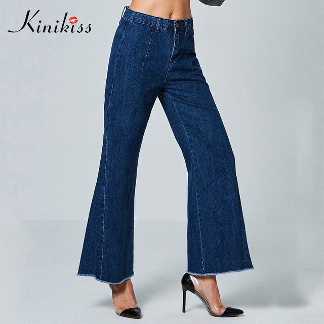 0a897788f3f8 Kinikiss 2018 Automne Jeans Femmes Lâche Occasionnels pantalons à Jambes  Larges Jeans cloche bas Flare long