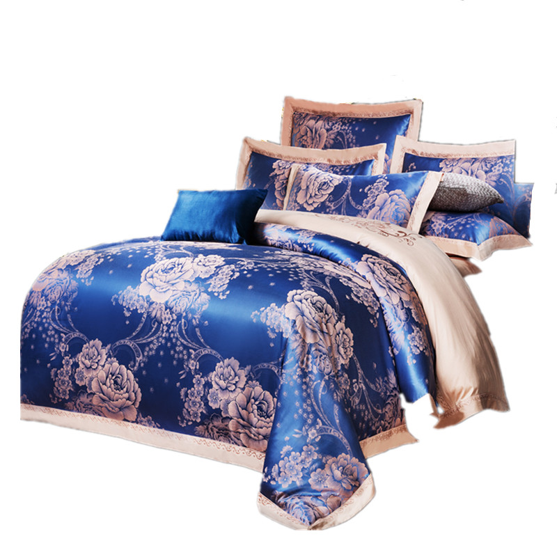 keluo luxury wedding jacquard mulberry silk bedding 100cotton embroidered including duvet cover bed sheet - Silk Bedding