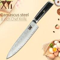 XYj 8 дюймов Дамасская сталь кухонный нож повара рыбный узор лезвие Нескользящая ручка нож хорошая прочность кухонный инструмент аксессуар