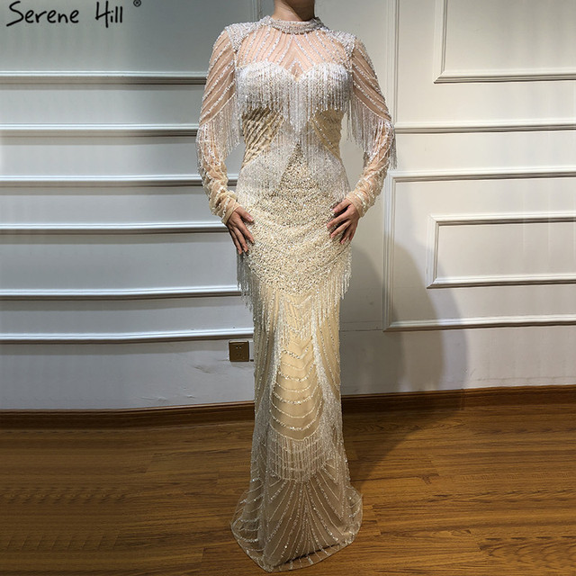 Dubai Luxury Mermaid Tassel Beading Evening Dresses 2020 New Long Sleeves Elegant Sexy Evening Gowns Serene Hill LA6662