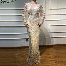 Dubai Sirena di Lusso Nappa Borda I Vestiti da Sera 2020 Nuovo a Maniche Lunghe Elegante Sexy Abiti da Sera Serena Hill LA6662