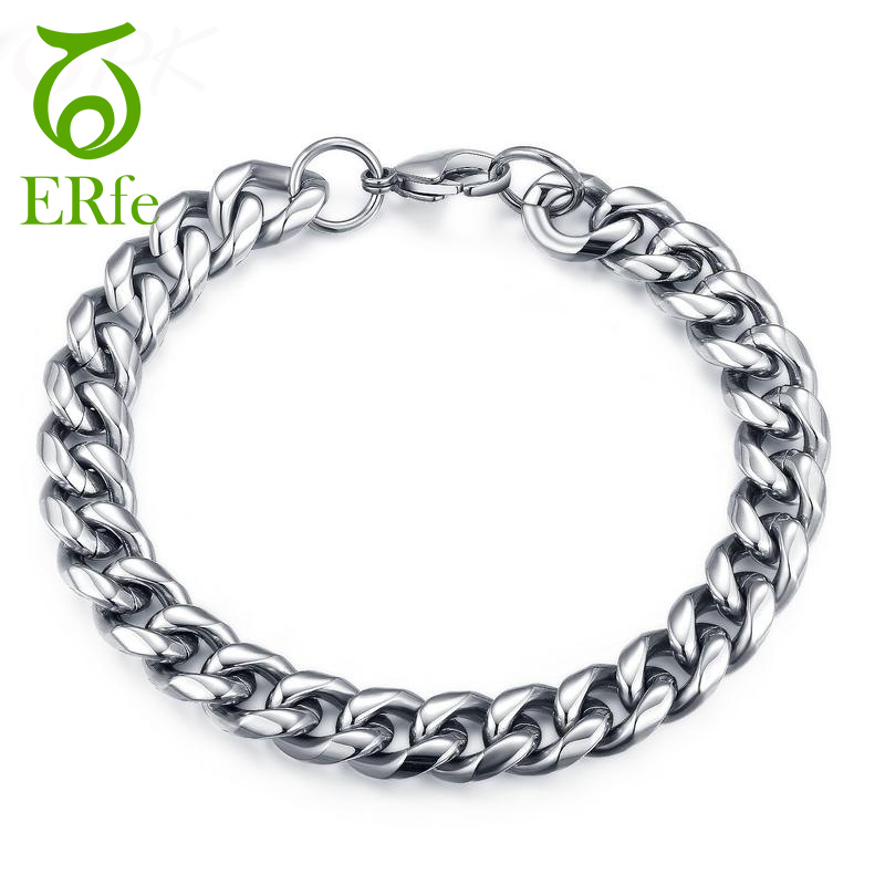 ER 9mm Rock Thick Silver Cuban Chain Bracelet Homme Punk Heavy Stainless Steel Braslet Armband Male Hand Accessory MB003