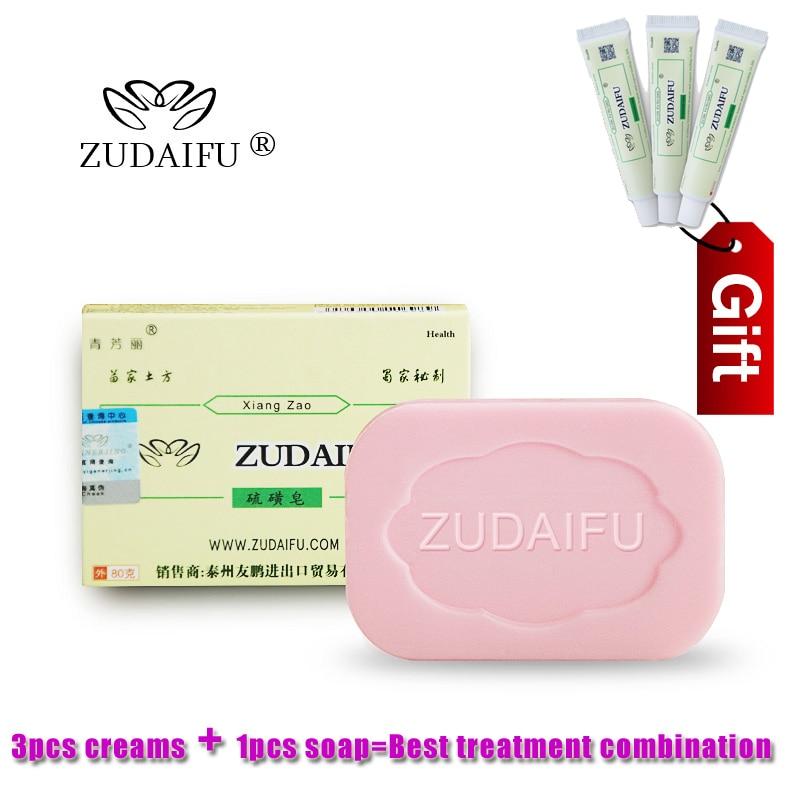 ZUDAIFU Sulfur Soap Skin Conditions Acne Psoriasis Seborrhea Eczema Anti Fungus Bath Whitening Soap+3 PCS Psoriasis Cream