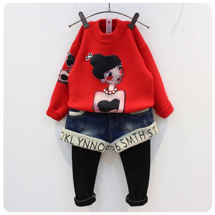 Girl Children's Garment 16 Autumn New Pattern Girl Concise Autumn Knitting Unlined Upper Garment Long Sleeve Sweater Jacket edition in the fall of new women s wear long sleeved sweater knit render unlined upper garment female hedge brief paragraph