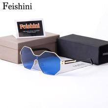5828aa7464 FEISHINI 707 de cobre-lentes UV400 gafas hombres espejo de diseñador de la marca  hexagonal de gafas de sol para mujeres Vintage .