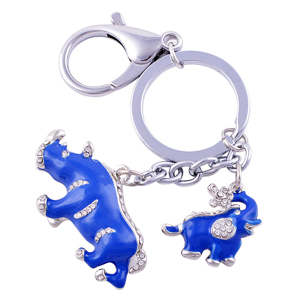Neue Ankunft Legierung Strass Schlüsselbund Blue Elephant Rhinoceros Schutz Schlüsselanhänger W1041