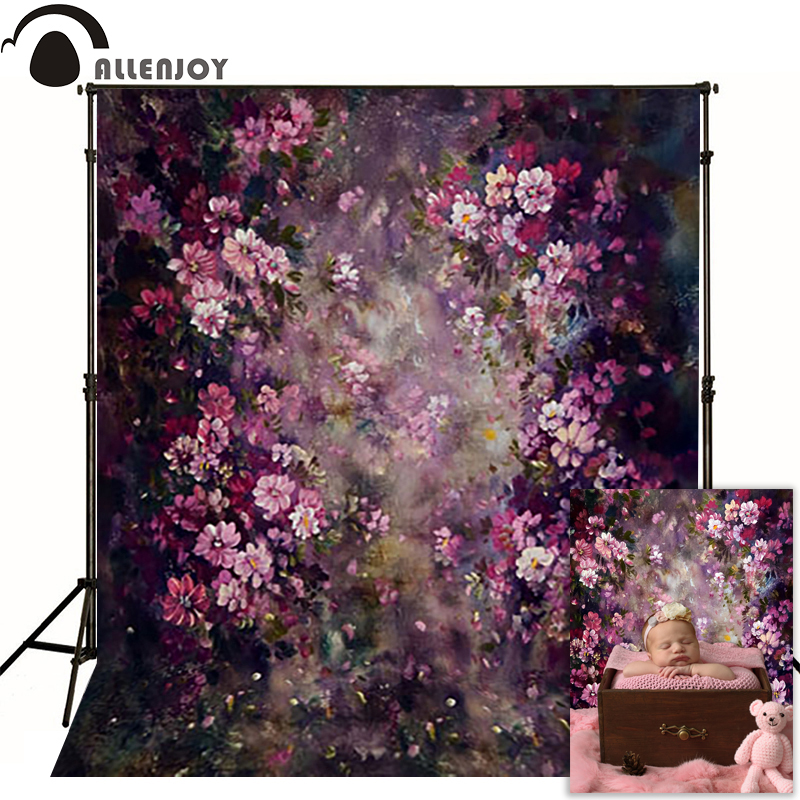 все цены на Allenjoy vinyl backdrops for photography Purple flower painting poetry photo background baby kid photocall cute 3x5ft