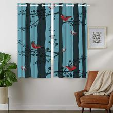 Blackout Curtains Darkening 2 Panels Grommet Window Curtain for Bedroom Cute Red Bird Standing On A Branch Forest girls standing on lawns