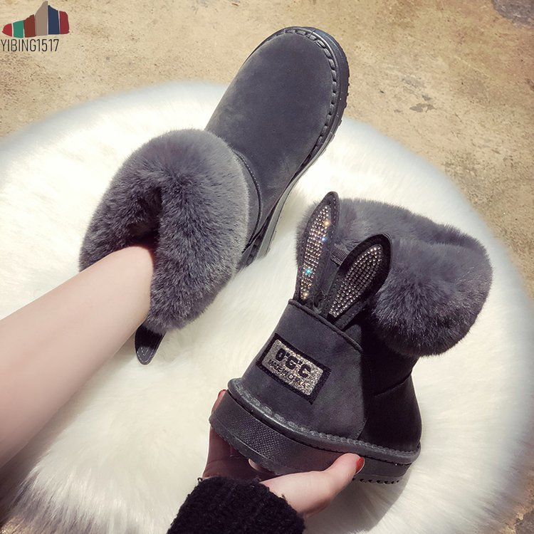 Women Boots Genuine Leather Real Fox Fur Brand Winter Shoes Warm Black Round Toe Casual Plus Size Female Snow Boots 18