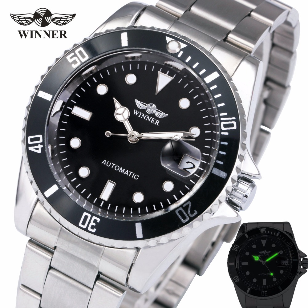 WINNER Men's Royal Classic Automatic Mechanical Watch Luxury Brand Business Watch Date Window Metal Wristwatch Father Gift +BOX