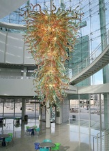 Chihuly Designed Lighting Modern Hand Blown Glass Long Chandelier Shopping Mall Lobby Decorative Light