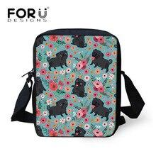 FORUDESIGNS милые черные сумки-мессенджеры с принтом мопса, детские сумки-мессенджеры для девочек с бабочкой и таксой, сумка через плечо, роскошные холщовые сумки для девушек