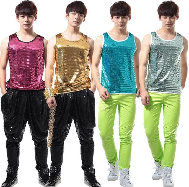 Summer style personality slim male gold paillete vest men punk rock costumes singer dance stage fashion street european black