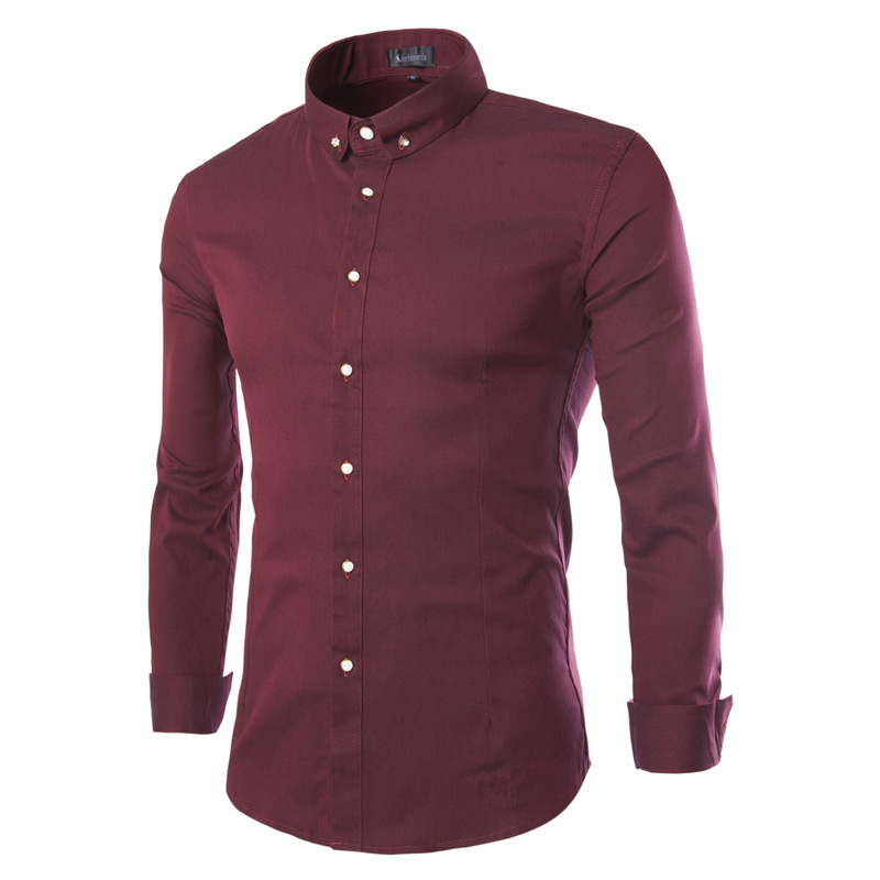 Solid Color Bussiness font b Shirt b font 2016 New arrival Brand clothingCotton Button Decoration Long
